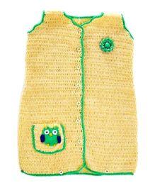 Mayra Knits Owl Sleeping Bag - Cream & Green