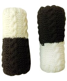 MayRa Knits Rainbow Leg Warmers - Black & White