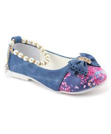 Cute Walk Belly Shoes Pearl Detailing - Blue