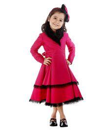 Kidology Fur Collar Wrap Dress - Fuschia