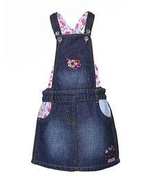 Tales & Storie Floral Embroidery Jumper Skirt - Dark Blue