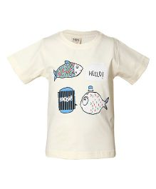 Tales & Stories Fish Printed Half Sleeves T-Shirt - Cream