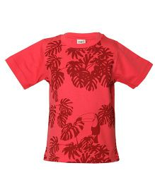 Tales & Stories Tropical Print Half Sleeves T-Shirt - Dark Peach