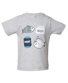 Tales & Stories Fish Printed Half Sleeves T-Shirt - Grey