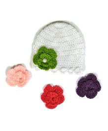 The Original Knit Handcrafted Flower Cap - White