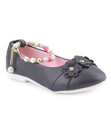 Cute Walk Belly Shoes Floral Applique With Pearl Detailing - Black