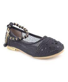 Cute Walk Belly Shoes Pearl Detailing - Black