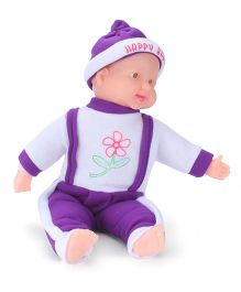 Kids Zone Laughing Doll With Flower Print Dress Purple - 17 inches