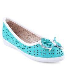 Cute Walk Belly Shoes Bow Applique - Sea Green