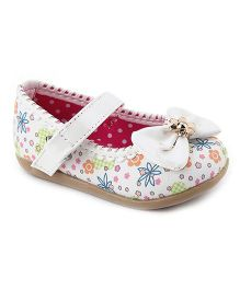 Cute Walk Belly Shoes Bow Applique - White