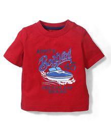 Mothercare Half Sleeves T-Shirt Boat Yard Print - Red