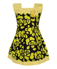 BownBee Sleeveless Frock Floral Applique - Yellow