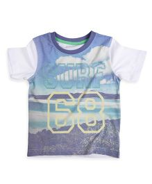 Mothercare Half Sleeves T-Shirt Island Graphic Print - White And Multicolor