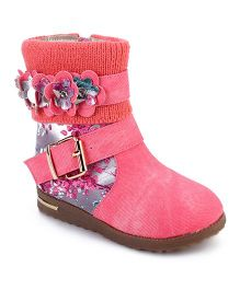 Cute Walk Ankle Length Boots Floral Applique - Dark Pink