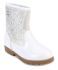 Cute Walk Ankle Length Boots Stone Work - White
