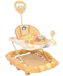 Musical Baby Walker Cum Rocker With Push Handle - Orange And Cream