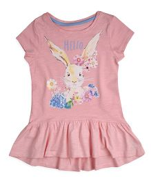 Mothercare Short Sleeves Frock Style Top Rabbit Print - Pink