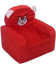 Lovely Kids Smart Sofa Cat Print - Red