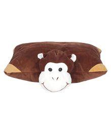 Ultra Folding Monkey Applique Cushion - Brown