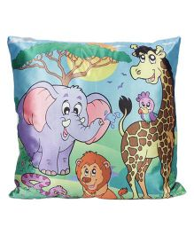 Ultra Fun In Zoo Printed Cushion - Blue