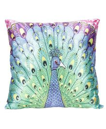 Ultra Peacock Print Cushion - Green