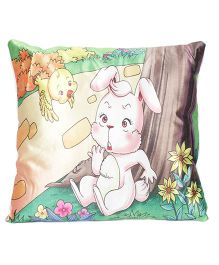 Ultra Rabbit And Bird Print Cushion - Yellow And Green
