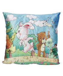 Ultra Rabbit And Tortoise Print Cushion - Blue
