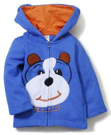 Babyhug Hooded Full Sleeve Sweatshirt With Teddy Print - Blue