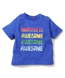 Mothercare Half Sleeves T-Shirt  Caption Print - Blue