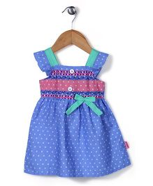 Chocopie Short Sleeves Frock Bow Applique - Blue