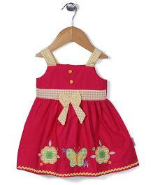 Chocopie Sleeveless Butterfly Patch Solid Color Frock - Red