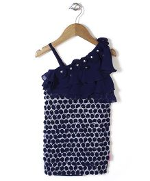 Chocopie All Over Rose Applique Sleeveless Party Frock - Navy