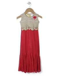 Chocopie Sleeveless Self Design Party Frock - Red & Gold