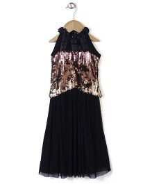 Chocopie Sleeveless Designer Party Frock - Black