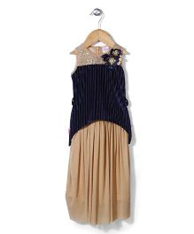 Chocopie Sleeveless Designer Party Frock - Navy Blue And Beige