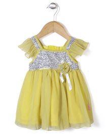 Chocopie Flutter Sleeves Designer Party Frock - Yellow