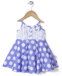 Chocopie Singlet Neck Polka Dotted Frock - Blue