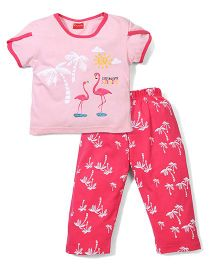 Kanvin Half Sleeves Night Suit Sunshine Print - Pink