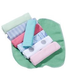 Babyhug Wash Cloth Polka Dots And Plain Multicolor - Pack Of 8