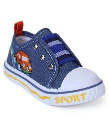 Cute Walk Canvas Shoes Car Embroidery - Blue