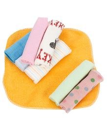 Babyhug Wash Cloth Solid Color And Printed Multicolor - Pack Of 8