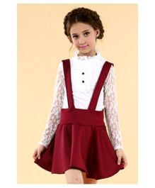 Lil Picks Top & Skirt Set - White & Maroon
