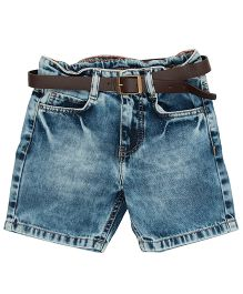 Bees And Butterflies Stone Wash Denim Shorts - Light Blue