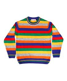 Kids On Board Full Sleeves Striped Sweater- Multicolor