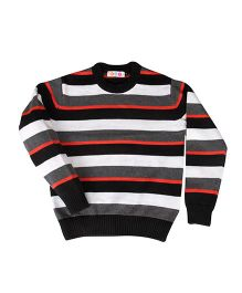Kids On Board Full Sleeves Striped Sweater- Orange & Black