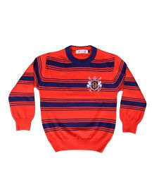 Kids On Board Full Sleeves Striped Sweater- Orange