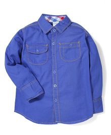 Babyhug Solid Full Sleeves Shirt With Two Pockets - Royal Blue