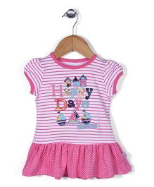 ToffyHouse Short Sleeves Striped Frock - Pink