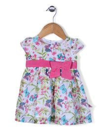 ToffyHouse Cap Sleeves Printed Frock With Bow Applique - White & Pink