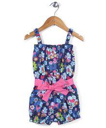 ToffyHouse Singlet Style Floral Print Jumpsuit - Blue